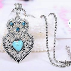Heart retro silver snake chain necklace Turquiose sea blue color Jewelry Necklaces