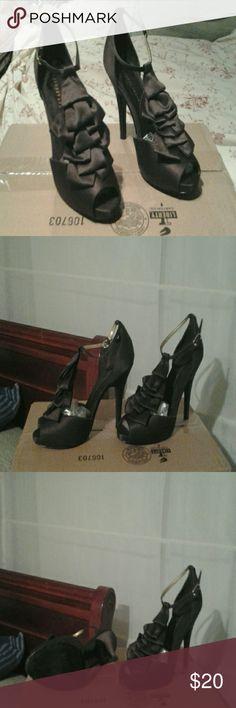 Audrey Brooke Estella Pumps Chocolate Brown peep toe pump. Satin upper with ruffled T Strap. Adjustable ankle strap, 1/4 platform - 4 1/4 heel. Worn once for a wedding. Audrey Brooke Shoes Heels