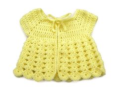 Newborn Baby Sweater in Crochet - Yellow Angel Top, Cardigan - Handmade by Amanda Jane in Ireland