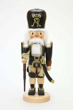 Mini Nußknacker US-Soldat schwarz-blau NEU Erzgebirge Weihnachten Nüsse Miniatur