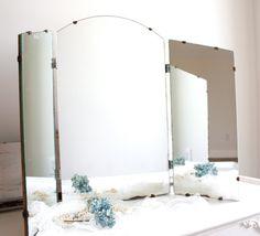 vintage tri fold mirror vanity mirror shabby cottage chic tri