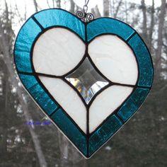 My True North Stained Glass & Bevel Heart Suncatcher