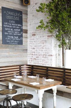 The Fat Radish Kitchen Diaries (La Buena Vida - Nicole Franzen) Restaurant Booth, Restaurant Lounge, Restaurant Design, Restaurant Interiors, Banquette Dining, Corner Seating, Outdoor Furniture Sets, Outdoor Decor, Wall Treatments