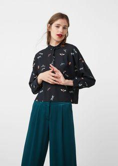 Prited crop shirt - Shirts for Woman | MANGO United Kingdom