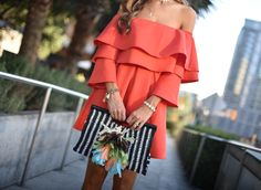 Red OTS dress. Summer outfits under $100. Gladiator sandals. Ruffle red dress. Fashion blogger. Red dress. Straw beach bag