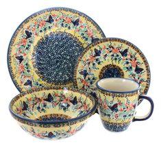 Blue Butterfly 4 Piece Dinner Set - Blue Rose Polish Pottery