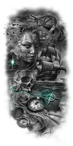 tattoo designs gallery - Tattoos And Body Art Tattoos And Body Art Hand Tattoos, Neue Tattoos, Skull Tattoos, Body Art Tattoos, Cool Tattoos, Tattoo Art, Tatoos, Thor Tattoo, Ship Tattoo Sleeves