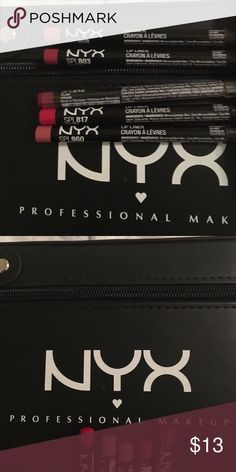 Nyx Lipliner Lot! 5  (one still unopened) Lot of 4 Nyx lip liners, barely used, one is unopened Shades Burgundy, Plum(unopened), Peekaboo Neutral, Hot Red, And Nude Pink  NYX Makeup Lip Liner