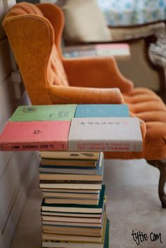End table of books. Matches the decorative piles of books already lining the walls in my house.