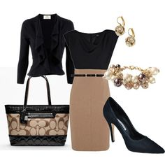 Coach Bag: Black and Tan: Classy Outfit: Gold Jewelry