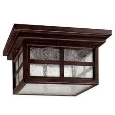 Capital Lighting 9917MBZ Preston Three Light Outdoor Flush Mount in Mediterranean Bronze by Capital Lighting. $85.28. 9917MBZ Features: -Outdoor flush mount.-Seeded glass shade.-Mission style.-UL listed for damp locations. Construction: -Steel construction. Color/Finish: -Mediterranean Bronze finish. Specifications: -Accommodates (3) 60W candelabra bulb (not included). Dimensions: -Overall dimensions: 6'' H x 11.25'' W. Collection: -Preston collection.