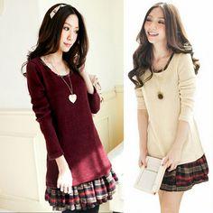 Sweet cute knitting splicing dress