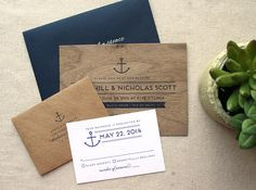 Nautical Real Wooden Wedding Invitation Anchor by CheerUpCherup