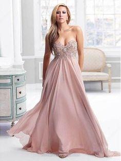 Empire Chiffon Sweetheart Rhinestone Sweep Train Formal Dresses - formaldressaustralia.com