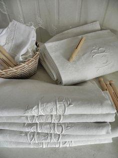 linge ancien 12 serviettes de table damassé pur lin monogramme JB