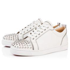 7c81a18d476f JUNIOR ZIP SPIKES FLAT LATTE SILVER Calf - Men Shoes - Christian Louboutin