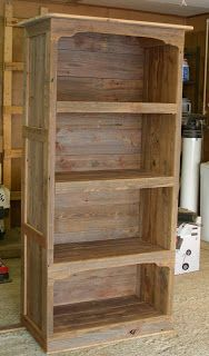 the common milkweed: Barn Wood Book Shelf, Part 3 Wood Corner Shelves, Wood Bookshelves, Barn Wood Shelves, Diy Pallet Furniture, Rustic Furniture, Pallet Dresser, Woodworking Plans, Woodworking Projects, Woodworking Machinery