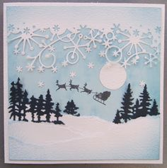 Frostyville border, by Memory Box and Marianne Tiny Pines, easy peasy Christmas card