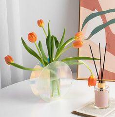 Acrylic Vase Minimalist Decor ripple Sample Design   Etsy Acrylic Plastic, Acrylic Art, Clear Acrylic, Dried Flower Arrangements, Dried Flowers, Mondrian, Minimalist Decor, Minimalist Living, Bud Vases
