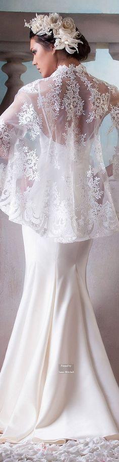 Blanco chiffon bordado novia