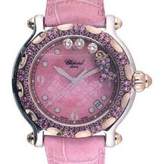 "Someday, when I am ridiculously rich, I plan to buy a ridiculously impractical and ridiculously priced Chopard watch, much like this cheery ""happy fish"" pink one. Jewelry Box, Jewelery, Jewelry Watches, Jewelry Accessories, Gold Watches, Pink Love, Pretty In Pink, Chopard, Beautiful Watches"