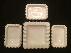 Four VINTAGE FENTON Hobnail Milk Glass Ashtrays 1 Large & 3 Small by VintageWhiskyCowgirl on Etsy