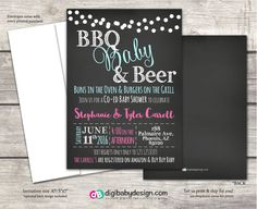 joint or co ed baby girl baby boy shower invitations, BBQ Babies and Beer, chalkboard, custom colors, printed or digital files #babyshower