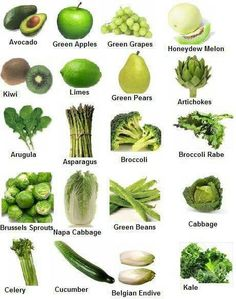 Green fruits and veggies