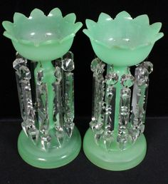 Pair Antique Mantle Luster Lamps. Green glass