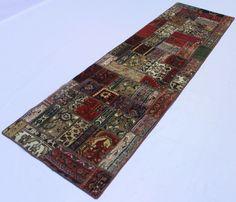 Orientteppich Patchwork Vintage modern Handgeknüpft  303 x 81 carpet perser
