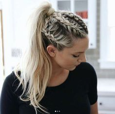 Boxer braid into a ponytail by Annie Pearce - Boxer Braids - Coins - Hot Boxer Braids Hairstyles, Cool Braid Hairstyles, Softball Hairstyles, Teenage Hairstyles, School Hairstyles, Casual Hairstyles, Wedding Hairstyles, Running Hairstyles, Camping Hairstyles