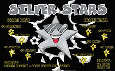 Stars-Silver-42226 digitally printed vinyl soccer sports team banner. Made in the USA and shipped fast by BannersUSA. www.bannersusa.com