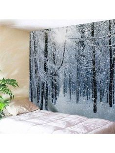 Wall Hanging Art Decor Snow Forest Print Tapestry - Grey White Inch * In. Inspire Me Home Decor, Hanging Art, Tapestry Wall Hanging, Wall Hangings, Art Mural, Wall Murals, Reproductions Murales, Blanket On Wall, Wall Blankets