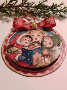 Vintage pictures and ideas for making Christmas tree hangers, tags and Christmas garlands