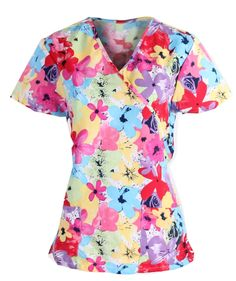 Womens Fashion Medical Nursing Scrub Tops Glitter Paisley Navy 2XL
