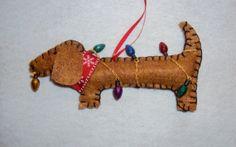 Dachshund Christmas Tree Ornament Felt by MaxMinnieandMe on Etsy, $13.00