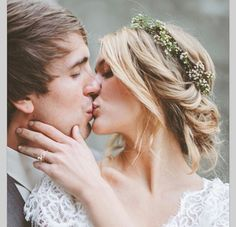 Sealed with a kiss  Nothing says #hippiechic than a #floralcrown and some tousled hair in a low updo ❤️ Favored by Yodit Events #wedding #hair #updo #ido #hairstyle #hairinspiration #vawedding #weddingplanner