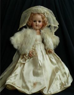 "Vintage 1950s 14"" Madame Alexander Bride Doll w/ Long Train"