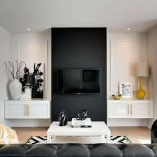 Black Living Room Accent Wall - Design photos, ideas and inspiration. Amazing gallery of interior design and decorating ideas of Black Living Room Accent Wall in living rooms by elite interior designers. Accent Walls In Living Room, Black Accent Walls, Living Room Diy, Trendy Living Rooms, Living Room Wall, Black Living Room, Living Decor, Living Room Tv Wall, Living Room Accents