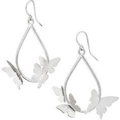 Lisa Wilson Studio Butterfly Cloud Earrings (£45) ❤ liked on Polyvore featuring jewelry, earrings, butterfly earrings, sterling silver teardrop earrings, tear drop earrings, colorful hoop earrings and butterfly wing jewelry