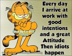 Everyday I arrive at work with good intentions and a great attitude then idiots happen.