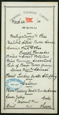 handwritten ship menu, 1900 - sounds delicious!
