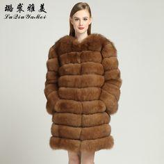 2017 Fashion Fox Fur Jackets Women Genuine Long Luxury Plus Size Vests Real Fur Russian  Waistcoat Winter Coats Natural Fox Fur