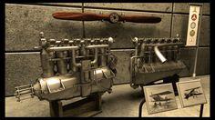 Old Mercedes airplane engine scene