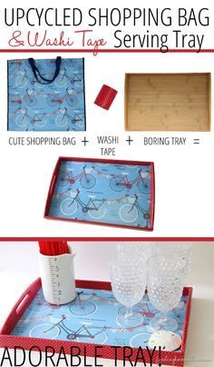 DIY Upcycled Tray - Don't you love the cute shopping bags at stores for .99?  This is the perfect upcycle for those bags!