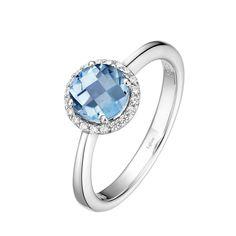 Lafonn Simulated Aquamarine and Simulated Diamond Halo Birthstone Ring