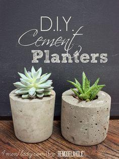 DIY Cement Planters - great tutorial! at @Remodelaholic .com .com .com .com