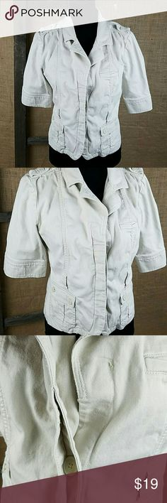 """Anthropologie Lux women's L/Large blazer jacket Anthropologie Lux women's L/Large blazer jacket career, maybe missing the belt, the are slots for belt but I do not know if it came with one. Missing one button on the front   Under arm to under arm: 21.5"""" Back up down: 21.5"""" Anthropologie Jackets & Coats Blazers"""