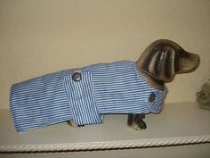 "HANDMADE DOG COAT 14"" BLUE AND WHITE STRIPED,FLEECE LINED,NEW,DACHSHUND,SM/ DOGHANDMADE DOG COAT 14"" BLUE AND WHITE STRIPED,FLEECE LINED,NEW,DACHSHUND,SM/ DOG"