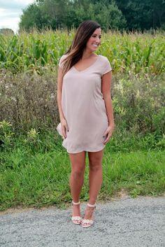 Taupe Shift Dress | Lane201 Boutique